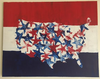 USA Acrylic Painting, Red White and Blue! 16x20