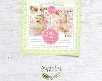 Cake Smash Mini Sessions, First Birthday, Photoshop Template, Cake Smash Photo Sessions Template, Square Marketing Board, Instant Download