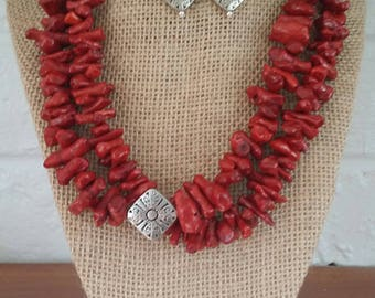 Coral Jewelry, Red Coral Necklaces, Coral Necklaces, Red Coral Jewelry, Red Coral Earrings, Big Bold Double-Strand Coral Necklaces, Organic