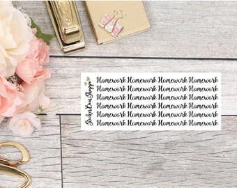 Homework Functional Planner Stickers - For Erin Condren Life Planner or Happy Planner