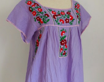 Mexican Hand Embroidered Top, Oaxacan Blouse, Embroidered Blouse, Mexican Tops
