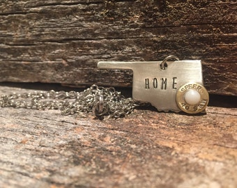 Oklahoma Necklace // Oklahoma Home // OK Sooners // Oklahoma Gifts // OK Jewelry // Stamped State Pendant // Personalized Home Necklace