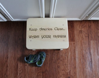 Personalized Kids Step Stool: Keep America Clean...Wash your Hands!