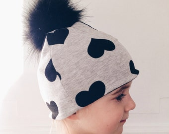 Baby and children's hat / beanie - faux fur pompom - fleece lining - fabrics to choose from