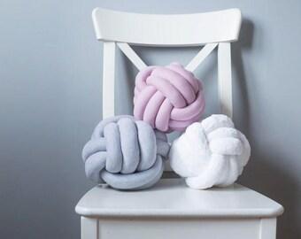 Sphere Ball pillows , Knot pillow , Decorative Pillow , White nursery decor , Baby kids gift , modern design pillow , room decor