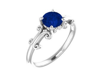 Sapphire Ring Sterling Silver / Blue Sapphire Sterling Silver Ring / Sapphire Jewelry