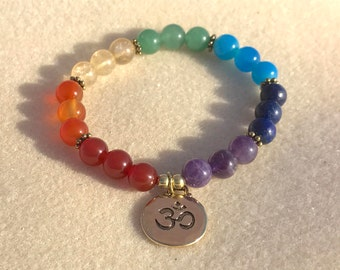 7 Chakra Stretch Bracelet with Gold-Plated Om Charm; Yoga Bracelet