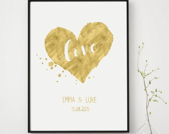 Personalized Wedding Gift, Love Sign, Faux Gold Foil Art Print, Gold Printable Art, Unique Wedding Gift for Couple, Custom Anniversary Gift