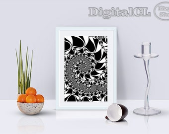 Blurred effect Printable wall art Abstract wall art Home decor Psychedelic Black and white