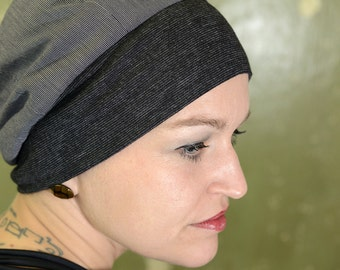 grey-black cap made of cotton with wide Jersey cuffs, unique by 7streich, size 56-58 cm