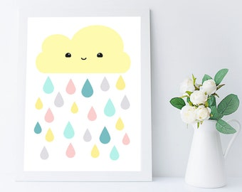 kawaii cloud print - cute colorful raindrops illustration - nursery wall art - kids room decor - baby room decor - art for girls room