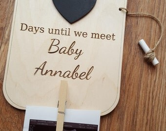 Personalised Baby Countdown Ultrasound Photo Picture Holder Blackboard Black Chalk Board Plaque Pregnancy Gift Wood Wooden Sign Days Until