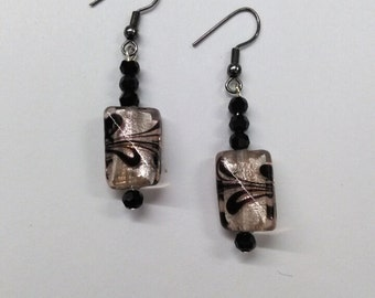 Pink Black Lamp Worked Earrings, Glass Jewelry, Square Earrings, Beaded  Earrings, Handmade Jewelry, Accessories, Fashion Jewelry, Boutique