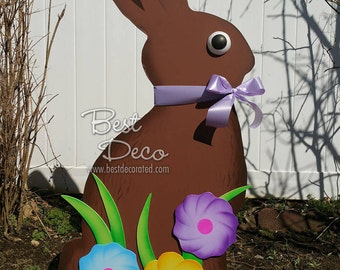 Chocolate Easter Bunny, outdoor wooden garden decoration for Easter. A scrumptious holiday display to welcome spring and Easter at your home