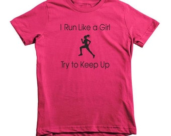I Run Like A Girl Girl's 100% Cotton Fitted Princess T-Shirt