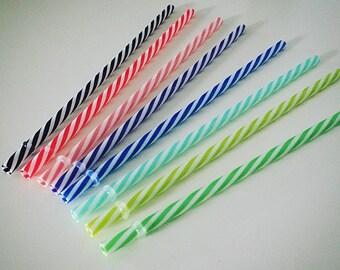 BPA - Free Striped Acrylic Straws