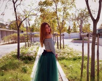 Green Tulle Skirt, Women Tulle Skirt, Tea Length Skirt, Bow Skirt, Adult Tulle Skirt, Engagment Skirt, Bridesmaid Tulle Skirt,Wedding Skirt