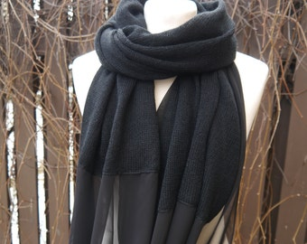 Black scarf Lightweight scarf Scarf pure chiffon and wool, Long lightweight scarf, black wrap, black shawl, gift for her