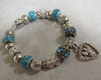 Pandora Like, Aqua Blue, Silver and Crystal European Charm Bracelet, #701