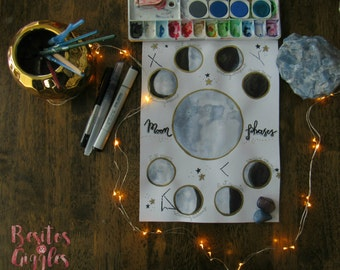 Phases of the Moon/Constellations/Watercolor Embossed painting