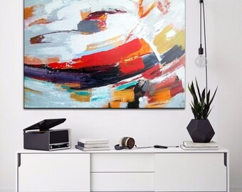 Abstract Painting, Acrylic Large Art, Hand painted, gift for boss, Colorful Painting Art, Painting On Canvas, Abstract art print, Boss Gift