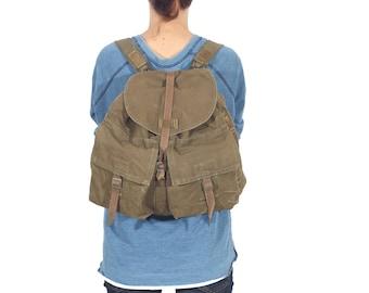 Vintage Canvas Backpack, Travel Backpack, Khaki Rucksack, Military Backpack from 1970's