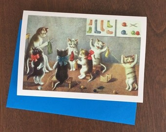 Vintage Greeting Card Knitting Cats, Knitting Cats Card, Vintage Cats, Knitting Lesson Card, Vintage Card, Retro Card, Vintage Image