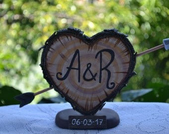 Rustic Wedding Cake Topper, Personalized Cake Topper, Cake Topper Initials, Cake Topper Wedding, Unique Wedding Cake Topper