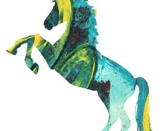Art poster unicorn - unicorn wall art - nursery- unicorn silhouette - unicorn print art - neon -  abstract - unicorn gift - unicorn lover