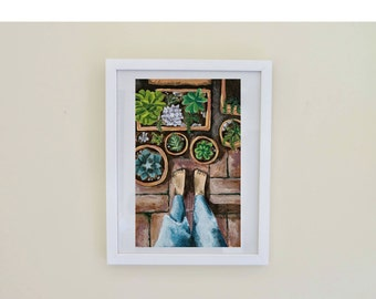 Art Print, Succulents, Room Decor, Wall Art, A4, Garden, Greenthumb, Nature, Green, Denim, Feet, Potplants, Bricks, Mindfulness