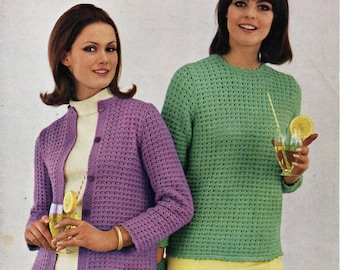 6ea67e6da8369 vintage womens cardigan . sweater . knitting pattern PDF ladies jacket  jumper 34-40