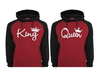 King Queen Hoodies King Queen Raglan Hoodies King Hoodie Queen Hoodie Couple Hoodies pärchen pullover Hooded Gift For Couple Maroon Black