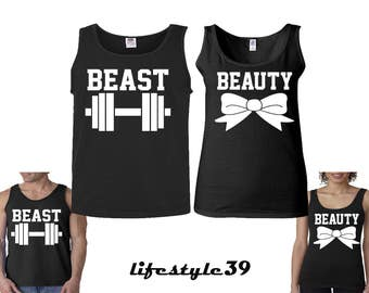 Beast and Beauty Couple Matching Tank Tops Beast and Beauty Fitness Shirts Gym Clothing Work Out Tank Tops