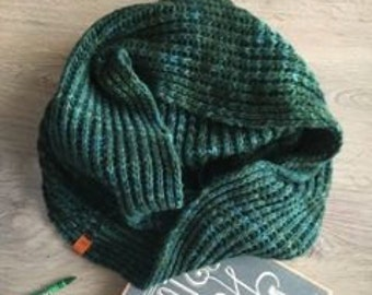 Green Circle Scarf, Valentine Day Gift for Him, Cowl Scarf, Scarf for Men, Gift for Husband, Mens Scarf, Gift for Boyfriend