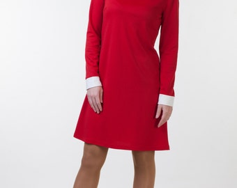 Cute red dress white collar White collar dress Red jersey dress Red office dress Cute midi dress with sleeves Jersey dress collared