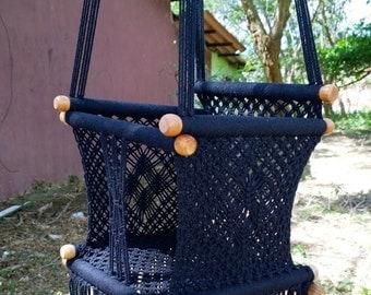 Macrame Swing  baby Chair, in black
