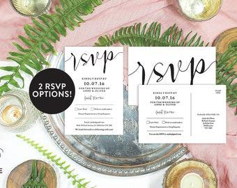 Wedding RSVP template, Wedding RSVP postcard, Editable pdf, Instant download, Wedding RSVP, Rustic wedding stationery, Printable rsvp card
