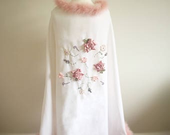 The Annabelle- Vintage style art deco, white and pink, 1920s style cape or bedroom jacket.