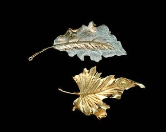 Set of 2 Large 60's Leaf Brooches     GJ2551