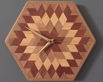 Handmade wooden wall clock with reclaimed solid wood geometric design
