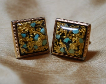 Vintage Hickok USA Monte Carlo Gold Flake and Turquoise Cufflinks J2-006