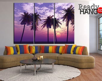 Tropical canvas, Lilac sunset art, Sunset on the beach canvas, Tropical island canvas, Canvas island, Palm trees print, Tropics art, Sunset