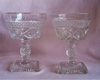 Pair of Imperial Glass Cape Cod Champagne/Tall Sherbet Glasses