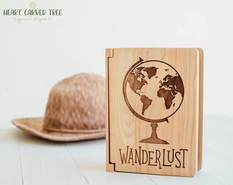 Travel Photo Album, Wanderlust Globe 4x6 Photo Album, Wood World Map, Travel Theme, Travel Scrapbook Album, Globe Wedding, Travelling, PA6