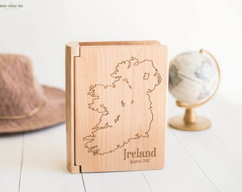 Ireland Travel Photo Album, Map of Ireland Travel Photo Book Wood Album, Irish Gifts, Celtic, Dublin, Cliffs of Moher, Luck of the Irish PA3