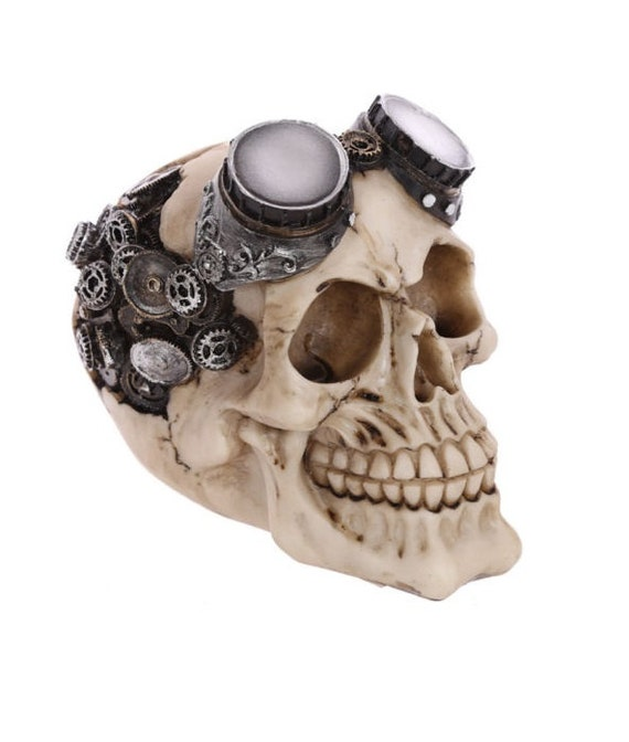 Large Skull Head with Goggles Ornament Steampunk Hand Painted