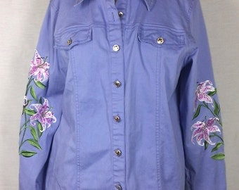 Purple cotton shirt/jacket with embroidered flowers/lilies, Bob Mackie Wearable Art, Vintage