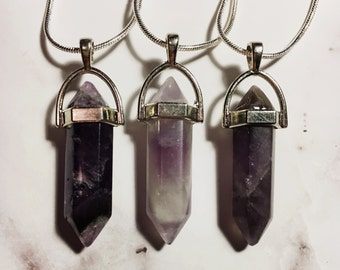 Amethyst Crystal Stone Necklace (1)