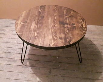 Round Side Table - Hairpin Legs - Circular End Table