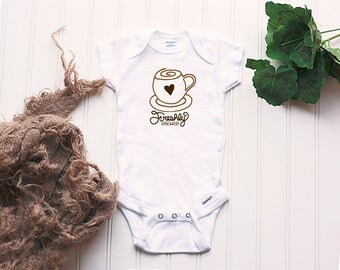 Freshly Brewed Onesie® - cute coffee Onesie®, coffee lover outfit, coffee Onesie®, baby name Onesie®, coffee outfit, funny coffee Onsie®